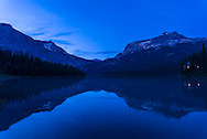Evening twilight reflections in blue at Emerald Lake, Yoho National Park, BC.<br /> <br /> This is a single 3-second exposure at f/5.6 with the 20mm lens and Nikon D750. I used an indoor white balance here to enhance the blue.
