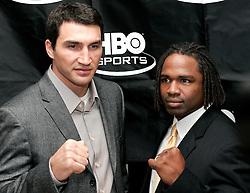 February 8, 2006 - New York, NY - IBF Heavyweight Champion Chris Byrd (r) and challenger Wladimir Klitschko pose at Gallagher's Steak House in New York City during the press conference announcing their upcoming fight.  The two fighters will meet on April 22nd for Byrd's IBF and the vacant IBO Heavyweight Championship at the SAP-Arena in Mannheim, Germany.