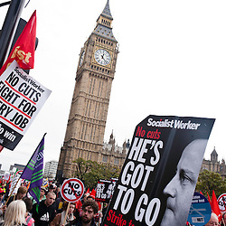 London, UK - 20 October 2012: a sign reads 'He's got to Go' during the TUC-organised march 'A future that works' against austerity cuts in central London.