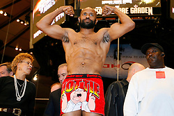 Nov 7, 2008; New York, NY, USA; Roy Jones Jr. weighs in for his November 8, 2008 Light Heavyweight Championship fight against Joe Calzaghe. The two fighters will meet at Madison Square Garden in NY, NY.