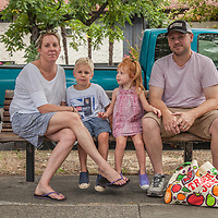 Melissa and Nick Gurniewicz  with their children Grahm and Cecilia at the Calistoga Saturday Market