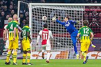 AMSTERDAM - Ajax - ADO , Voetbal , Eredivisie , Seizoen 2016/2017 , Amsterdam ArenA , 29-01-2017 ,  ADO Den Haag speler Ernestas Setkus kan de vrije trap van Ajax speler Lasse Schone niet houden en moet de 2-0 langs laten