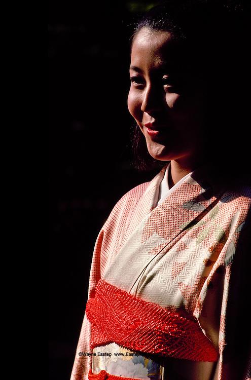 "Miss Yumi Tsutsui ""Miss Nippon"" ""Miss Kimono"" in the gardens of Shozan kimono weaving company in Kinugasa Kitaku area of Kyoto, Japan"