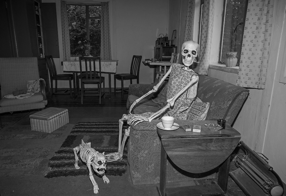 A Halloween display is laid out in a post WWII model home at the Chiltern Open Air Museum in England Tuesday, Aug. 25, 2015 (Elizabeth Dalziel) #thesecretlifeofmothers #bringinguptheboys #dailylife