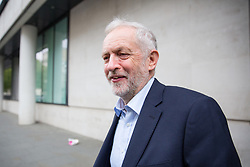 © Licensed to London News Pictures. 23/04/2017. London, UK. Leader of the Labour Party Jeremy Corbyn leaving BBC Broadcasting House after appearing on The Andrew Marr show, this morning. Photo credit : Tom Nicholson/LNP