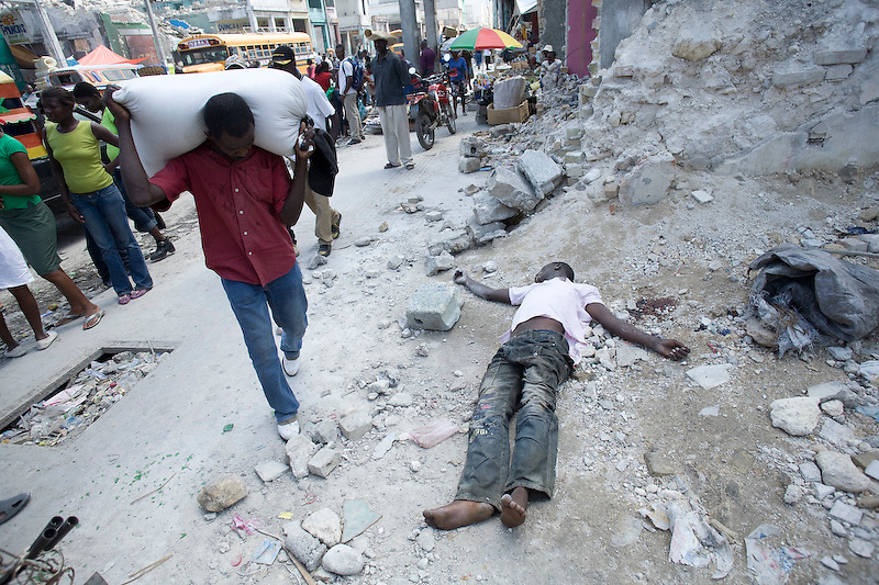 A guy beaten to death with a cinder block on Grand Rue, Port Au Prince. 3/22/2010. Photo by Ben Depp