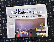 British newspaper The Daily Telegraph front page on the day after the EU Referendum, London, UK - 24 Jun 2016