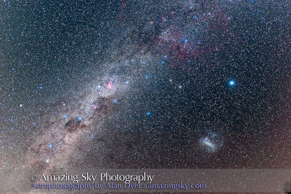 Southern Milky Way from Puppis thru to Centaurus (entire deep-south Milky Way) with Large Magellanic Cloud and Canopus at right and Gum Nebula at top right. Taken from Coonabarabran, NSW, March 2008, with Canon 20Da and 15mm Canon lens at f/4 for stack of 3 x 8 minute exposures + 1 x 8 minute with dew on lens to add glow around stars.