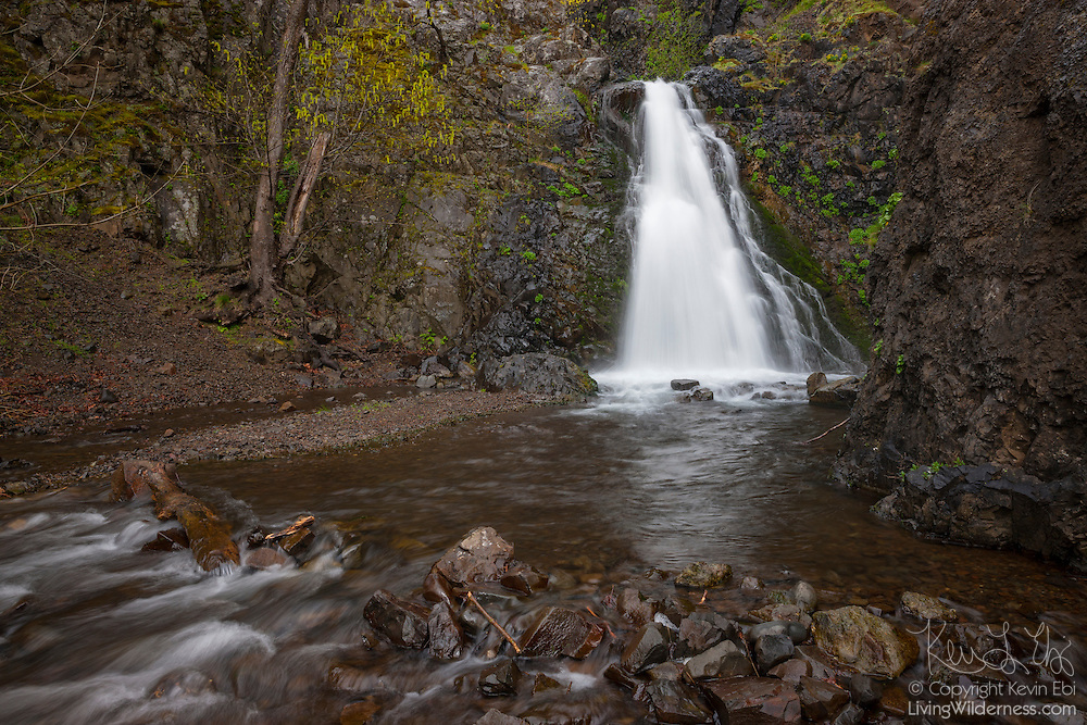 Dog Creek Falls, which drops about 30 feet (9 meters) along the Columbia River Gorge in Skamania County, Washington, is reflected in Dog Creek.