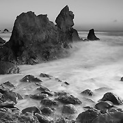 Corona Del Mar - Rocky Cove - Dusk - Black & White