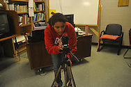 Oxford High broadcast journalism student Rachel Vanlandingham sets up a camera before conducting an interview in Oxford, Miss. on Monday, November 29, 2010.