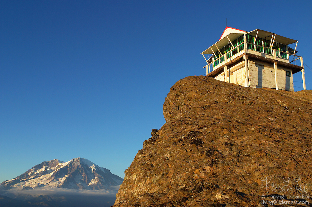 The High Rock Lookout, with a commanding view of Mt. Rainier, is used during the summer months to spot forest fires in the national park and surrounding forest areas. Inside the historic lookout is a fire spotter that was made in 1934.