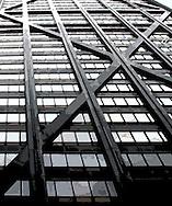 Skyscraper wall abstract patter steel beams