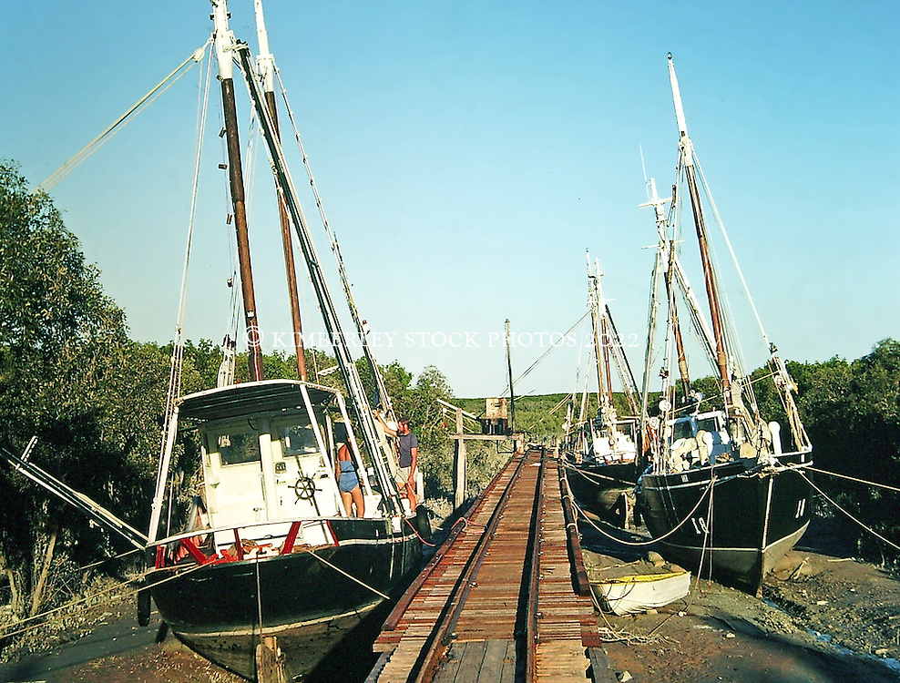 Luggers at rest at Streeters' Jetty in Broome in 1980.