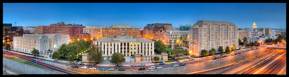 Panoramic Photograph of Georgetown Law School campus on Capitol Hill in Washington, DC.  Includes view of U.S. Capitol. Print Size (in inches): 15x4; 24x6.5; 36x9.5; 48x13; 60x16; 72x19