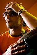 """Actor and bongo player Matthew McConaughey during a promotional tour for the movie """"Sahara."""""""