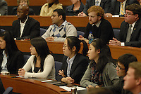 Guests of the 'Conversation on the Economy,' a forum held at Pfahl Hall in the Fisher College of Business at Ohio State on Nov. 30, 2010..