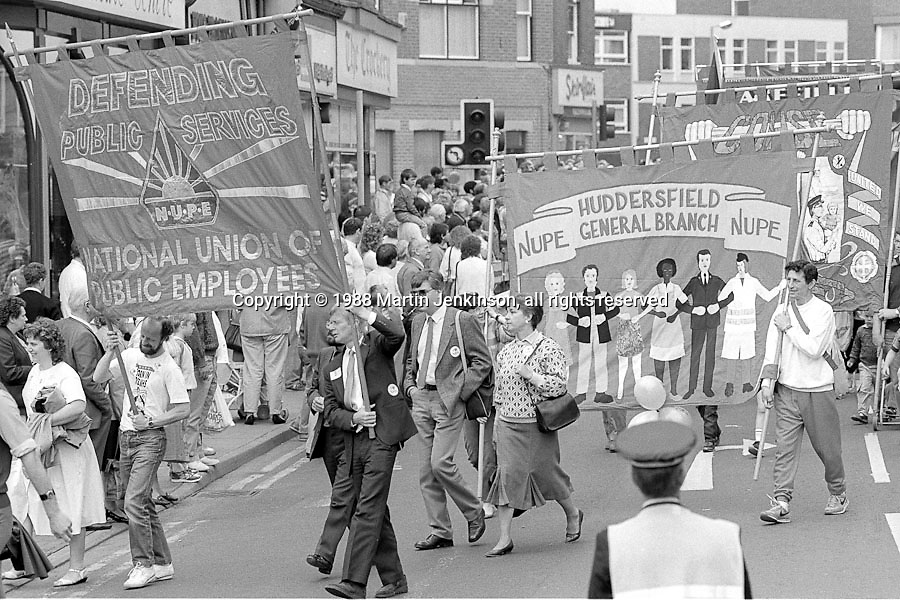NUPE banners. 1988 Yorkshire Miner's Gala. Wakefield.