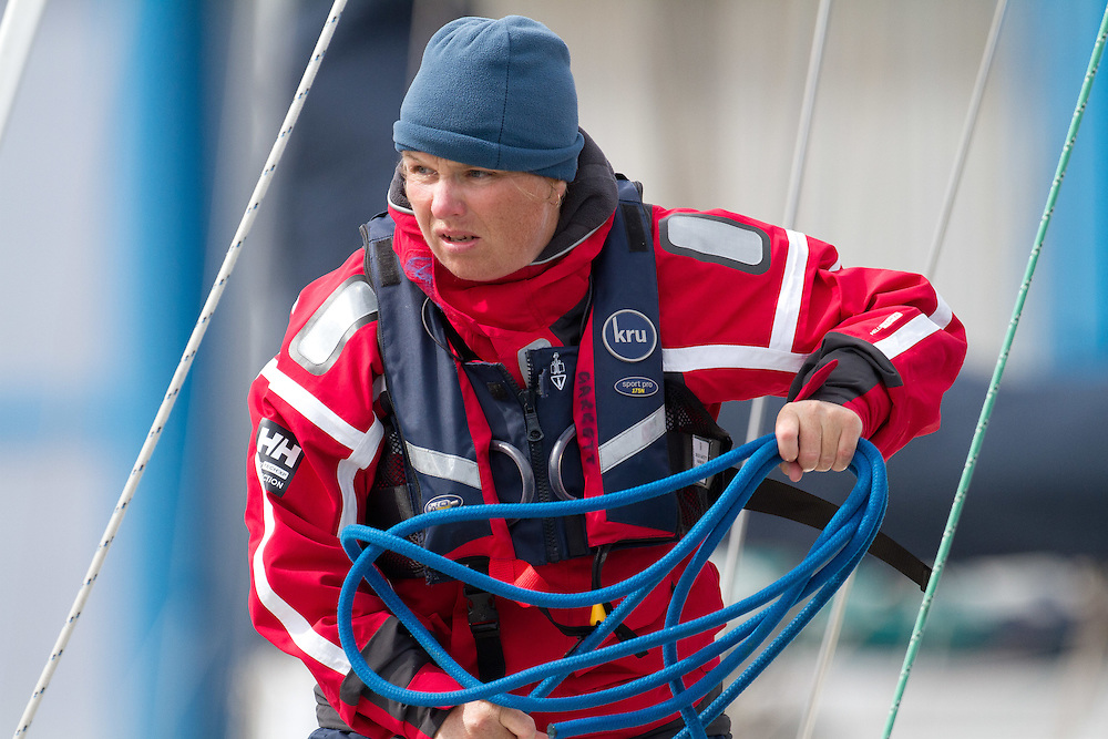 Expedition Coppelia co-skipper Sally Garrett at the Wellington restart of Round North Island two-handed yacht race. Wellington, New Zealand. 2 March 2011. Photo: Gareth Cooke/Subzero Images