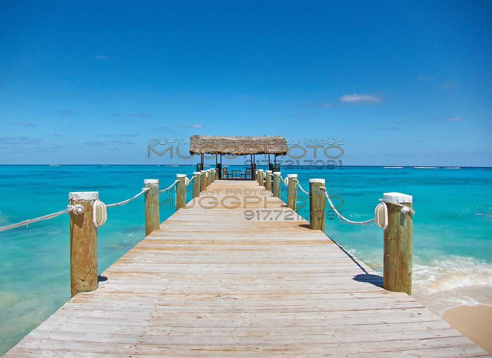 a long docking pier in Nassau, the bahamas.