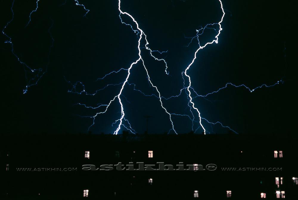 Lightning in dark sky.