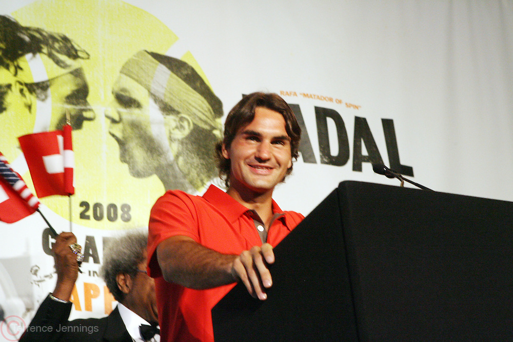 Roger Federer at the Don King and Nike presentation(press conference) ' Grapple in the Apple '  with Roger Federer and Raphael Nadal at The Madarin Oriental Hotel (North Salon) on August 21, 2008 in New York City