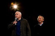 Sen. John McCain (R-AZ, left) campaigns with Sen. Joe Lieberman (I-CT) in Derry, N.H., on Thursday, Jan. 3, 2008.