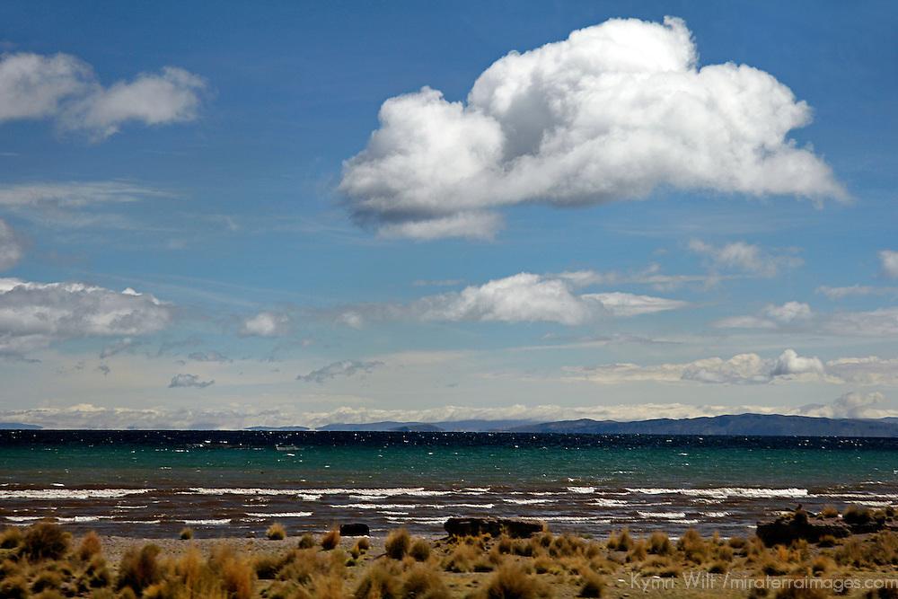 South America, Peru, Lake Titicaca. Clouds over Lake Titicaca near Puno.