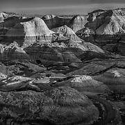 USA, AZ, Arizona, West, Southwest, Petrified Forest, Blue Mesa, The striated forms of spectacular Blue Mesa in Petrified Forest National Park, AZ.