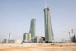 View of new office towers at Bahrain Financial Harbour district in Manama Bahrain