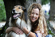 """15/8/2005.CANINES ARE A GIRL'S BEST FRIEND!!!..Actress Lisa Lambe out for an amble with her doggy friend Rebel, gets some canine advice in advance of her role in """"Dog Show"""" opening tomorrow night at the Watergate Theatre, Kilkenny (Tues 16) as part of the Kilkenny Arts Festival....Picture Dylan Vaughan."""
