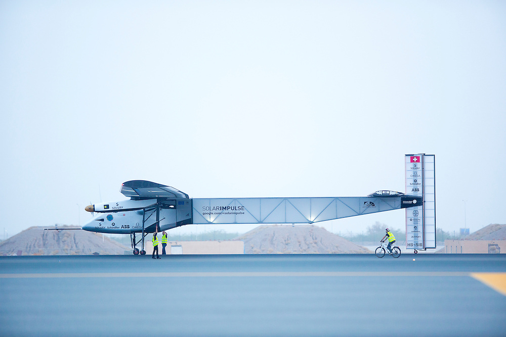 Solar Impulse 2 taking off after pit-stop in Muscat, Oman
