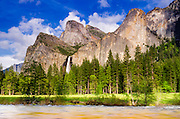 Bridalveil Fall and the Leaning Tower, Yosemite National Park, California