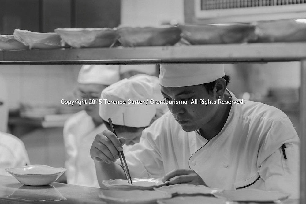 The Grand Gelinaz! Shuffle on July 9th 2015 Noma at Nahm, Bangkok<br /> <br /> The Grand Gelinaz! Shuffle on July 9th 2015, saw 37 of the best chefs of the planet swapping restaurants for one dinner service only. While David Thompson of Nahm, Bangkok (left) went to cook at Alain Ducasse au Plaza Ath&eacute;n&eacute;e in Paris, Ren&eacute; Redzepi of Noma in Copenhagen (right) took over Nahm for a night. Copyright 2015 Terence Carter / Grantourismo. All Rights Reserved.