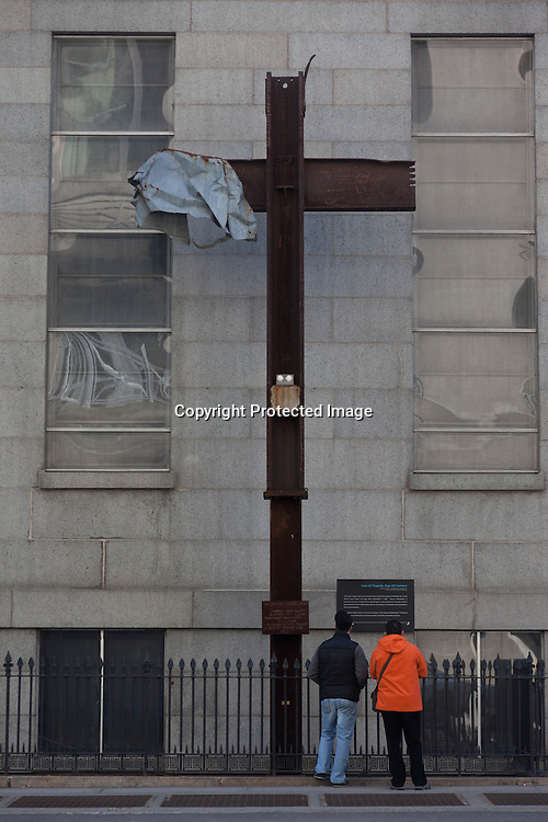 New York , the World Trade Center cross, in church street , also known as the Ground Zero cross, is a group of steel beams found amidst the debris of the World Trade Center following the September 11, 2001 attacks which resembles the proportions of a Christian cross.
