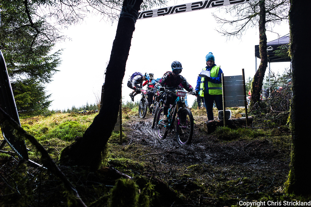 Glentress, Peebles, Scotland, UK. 31st May 2015. Riders at the start line of Stage 5 at The Enduro World Series Round 3 taking place on the iconic 7Stanes trails during Tweedlove Festival. Mountain bikers come up against eight stages across two days, with an intense 2,695 metres of climbing over 93km. As well as the physicality of the liaisons, the stages themselves are technical, catching many off guard.