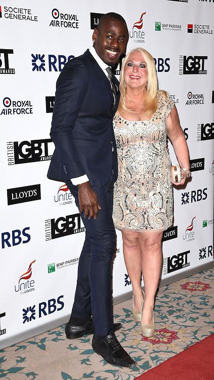 Ben Ofoedu and Vanessa Feltz  attend The British LGBT Awards at The Landmark Hotel, London on Friday 24 April 2015
