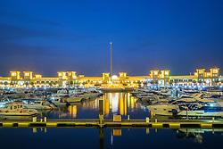 Souq Sharq shopping mall and marina at night in Kuwait City Kuwait