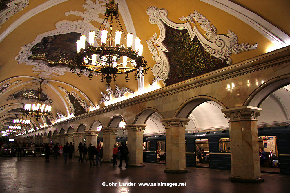 Komsomolskaya Station -The Moscow Metro is an attraction in itself.  Frescoed ceilings, chandeliers, art nouveau benches - what other subway system in the world can boast such beauty and design.  Though it's true that the trains themselves could use a makeover, the stations are well worth a look.  This is Komsomolskaya Station - probably the most famous of all for its museum like look.