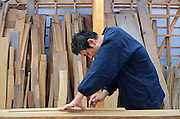 Japanese Sword Scabbard (Koshirae) Maker, Atsuhiro Morii, working at his workshop. Yokohama, Japan