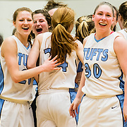 03/02/2013 - Medford/Somerville, Mass. - Tufts forward Kate Barnosky, G15, celebrates with her teammates after winning round two of the NCAA Div III tournament over Babson on Saturday, March 2, 2013. The Jumbos won 53-35. (Alonso Nichols/Tufts University)
