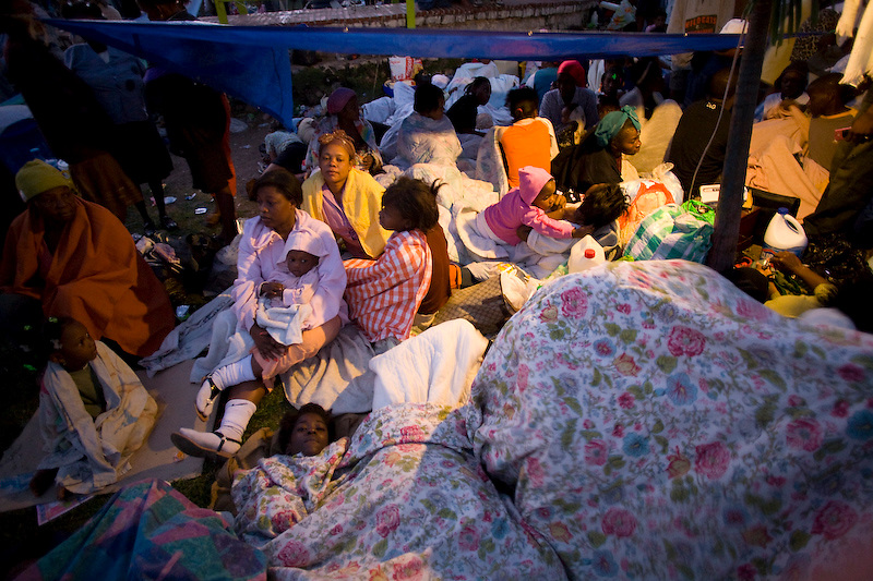 People made homeless and those scared to sleep in their houses sleep on roads and in parks. Petionville, Haiti. Photo by Ben Depp. 1/14/2010