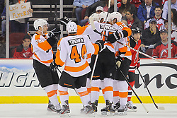 Mar 13, 2013; Newark, NJ, USA; The Philadelphia Flyers celebrate a goal by Philadelphia Flyers right wing Jakub Voracek (93) during the first period of their game against the Philadelphia Flyers at the Prudential Center.