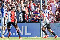 ROTTERDAM - Feyenoord - SC Heerenveen , Stadiond de Kuip , Voetbal , Eredivisie Play-offs Europees voetbal, seizoen 2014/2105 , 24-05-2015 , Feyenoord speler Anass Achahbar (r) scoort de 1-0