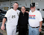 CHICAGO - SEPTEMBER 16:  Jim Thome #25 of the Chicago White Sox celebrates with his dad (R) and White Sox Chairman Jerry Reinsdorf after hitting his 500th career home run, a walk off home run winning the game, off of Dustin Moseley #58 during the game against the Los Angeles Angels at U.S. Cellular Field in Chicago, Illinois on September 16, 2007.  The White Sox defeated the Angels 9-7.  (Photo Credit Ron Vesely)