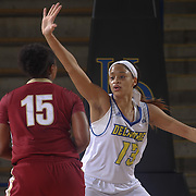 Delaware Forward SADÉ CHATMAN (13) defends College of Charleston Forward TANISHA BROWN (15) in the first half of a Colonial Athletic Association regular season basketball game between Delaware and College of Charleston Sunday, Jan. 22, 2017 at The Bob Carpenter Sports Convocation Center in Newark, DEL
