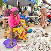 LÉGENDE: Rosine attend de nouveaux clients pour acheter ses poissons. En train temps, elle netooye sa main à l'aide de petit bassin. LIEU: Marché de Chagoua, N'Djaména, Tchad. PERSONNE(S): Rosine Remadsi assit à gauche et derrière d'autres vendeuses assisent devant leurs stands.