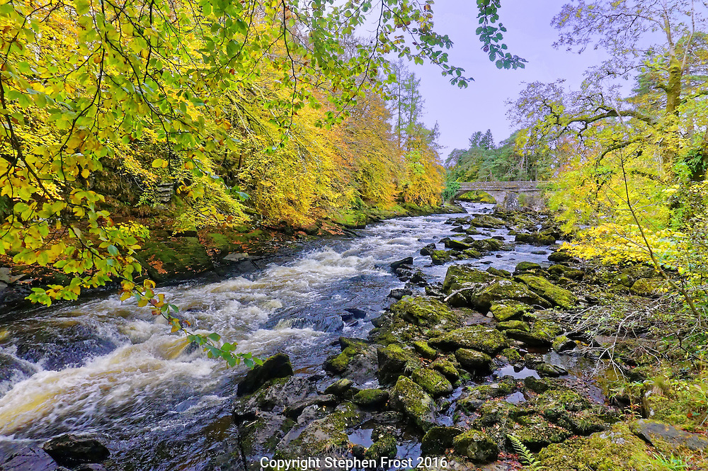 The River Dochart, near Killin, in the Stirling area of Scotland, with autumnal colours.
