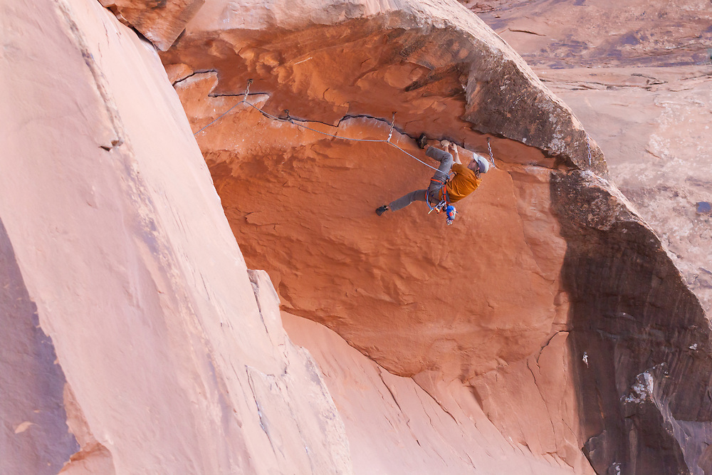 Evan Britts on Horizontal Mamba, 5.12+, Wallstreet, Moab, Utah