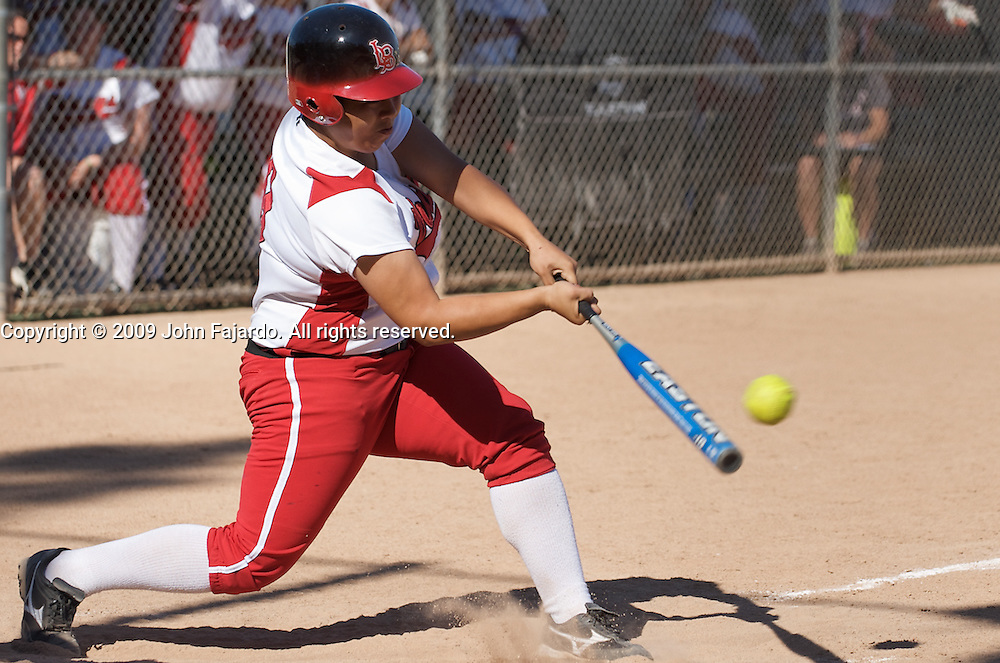 Monique Ogata at bat in the game against Mt. SAC at the LAC softball field on Tuesday April 21, 2009.  The Vikings lose the final regular season home game 5-1.